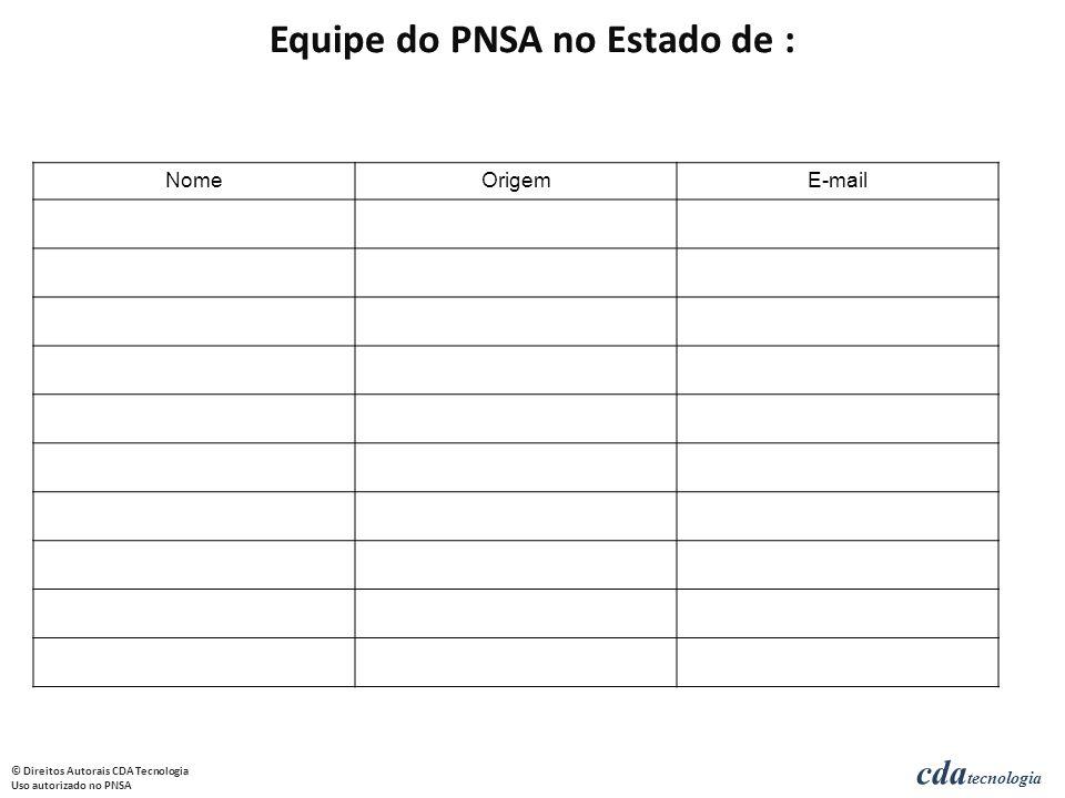 cda tecnologia © Direitos Autorais CDA Tecnologia Uso autorizado no PNSA NomeOrigemE-mail