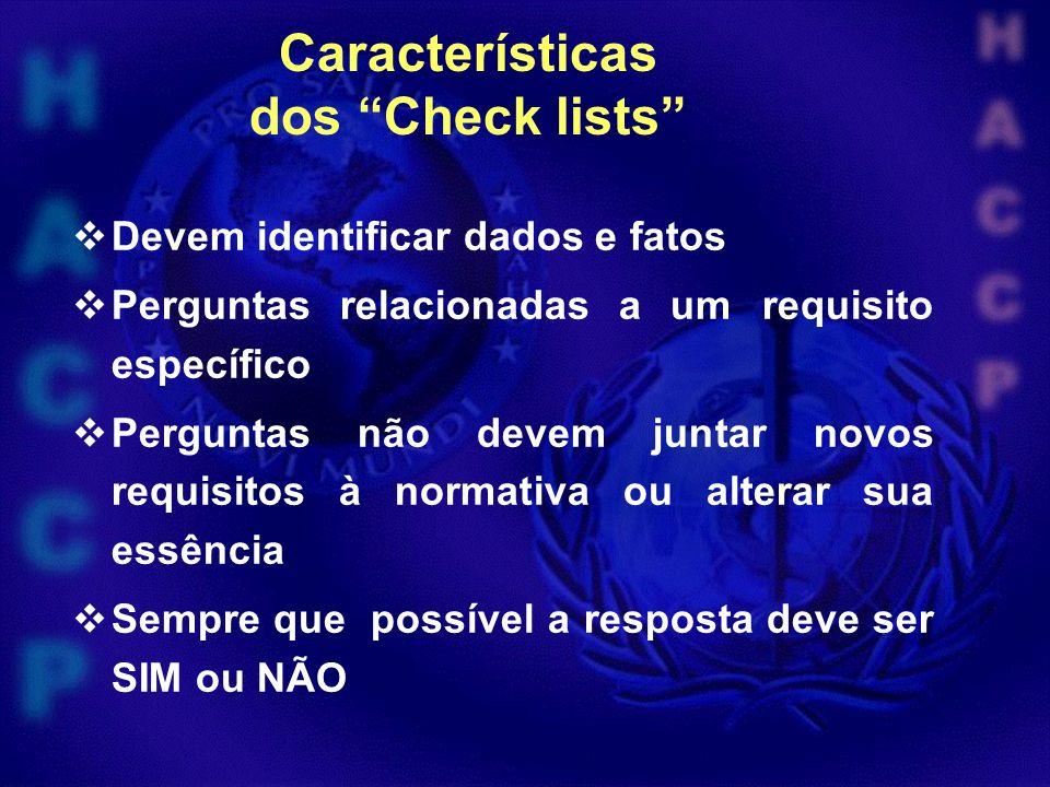 Características dos Check lists Devem identificar dados e fatos Perguntas relacionadas a um requisito específico Perguntas não devem juntar novos requisitos à normativa ou alterar sua essência Sempre que possível a resposta deve ser SIM ou NÃO