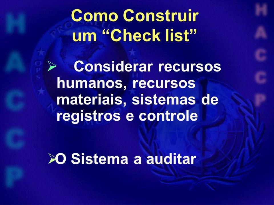 Como Construir um Check list Considerar recursos humanos, recursos materiais, sistemas de registros e controle O Sistema a auditar