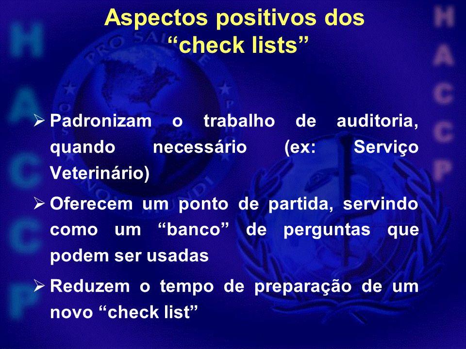 Aspectos positivos dos check lists Padronizam o trabalho de auditoria, quando necessário (ex: Serviço Veterinário) Oferecem um ponto de partida, servindo como um banco de perguntas que podem ser usadas Reduzem o tempo de preparação de um novo check list