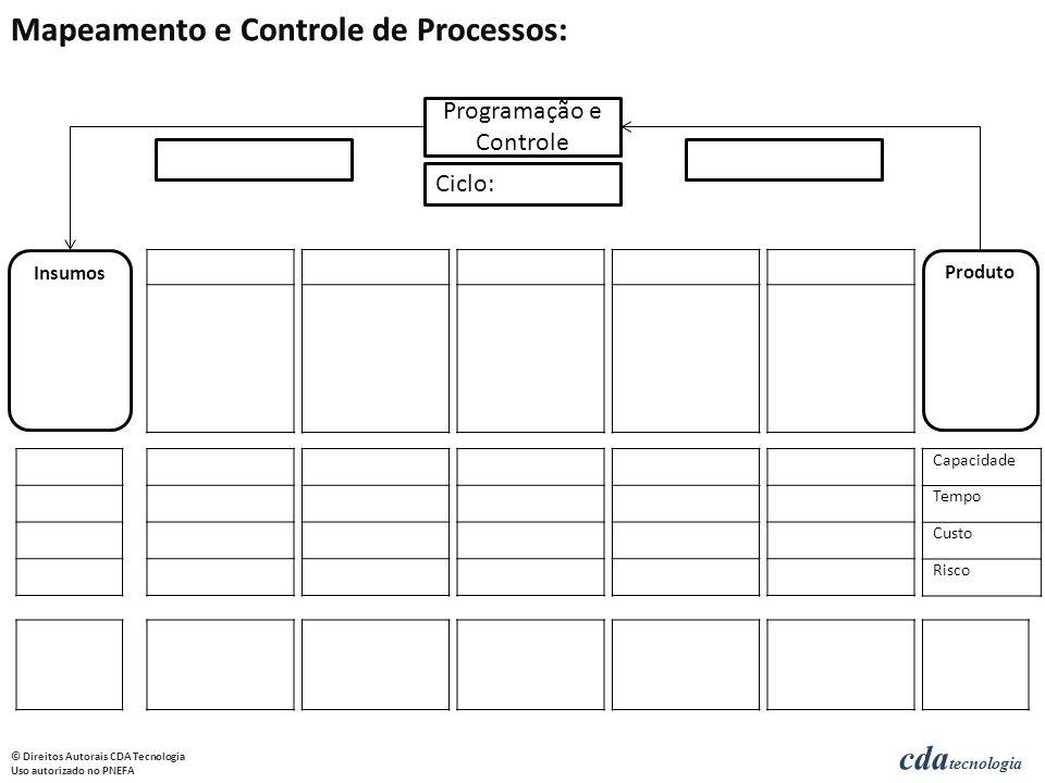 cda tecnologia © Direitos Autorais CDA Tecnologia Uso autorizado no PNEFA Insumos Produto Programação e Controle Ciclo: Capacidade Tempo Custo Risco