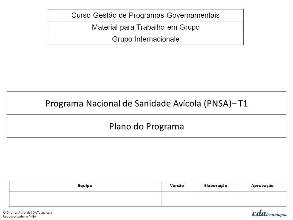 cda tecnologia © Direitos Autorais CDA Tecnologia Uso autorizado no PNSA cda tecnologia Programa Nacional de Sanidade Avícola (PNSA)– T1 Plano do Prog