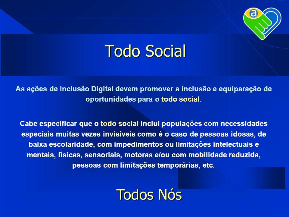 Todo Social As ações de Inclusão Digital devem promover a inclusão e equiparação de oportunidades para o todo social. Cabe especificar que o todo soci