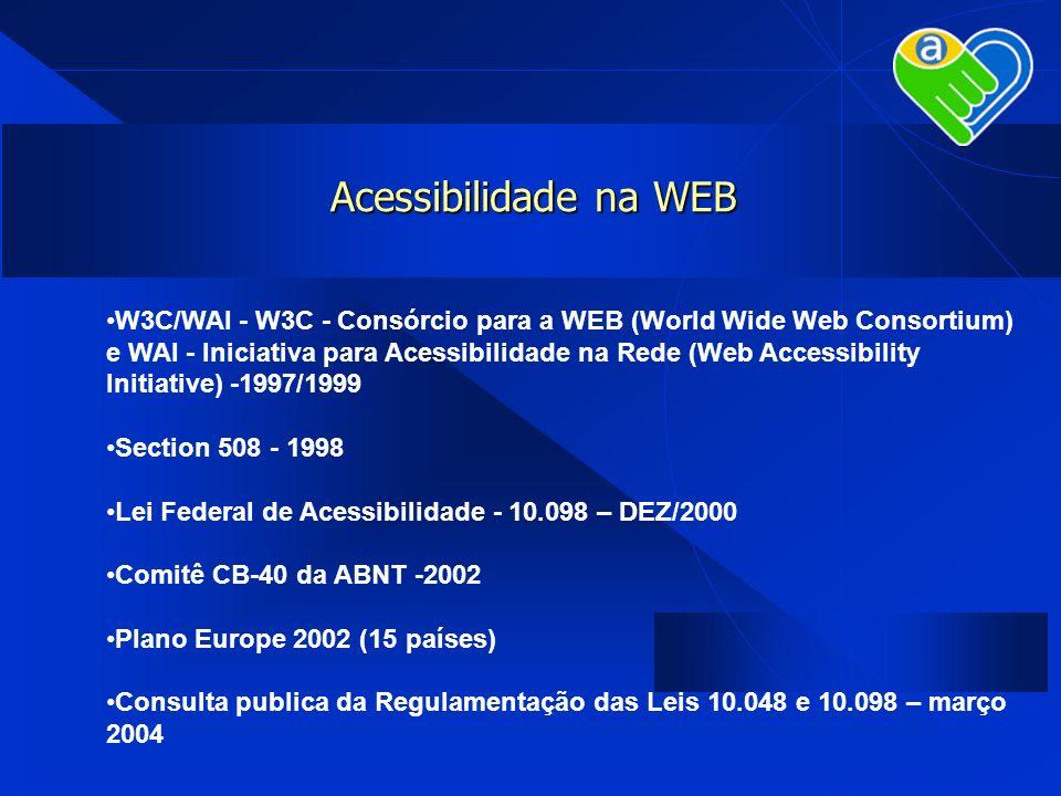 Acessibilidade na WEB W3C/WAI - W3C - Consórcio para a WEB (World Wide Web Consortium) e WAI - Iniciativa para Acessibilidade na Rede (Web Accessibili