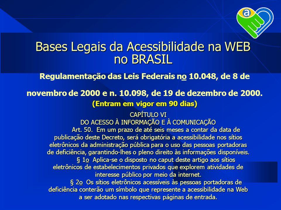 Bases Legais da Acessibilidade na WEB no BRASIL Regulamentação das Leis Federais no 10.048, de 8 de novembro de 2000 e n. 10.098, de 19 de dezembro de