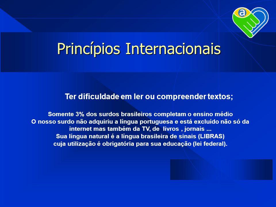 Princípios Internacionais Ter dificuldade em ler ou compreender textos; Somente 3% dos surdos brasileiros completam o ensino médio O nosso surdo não a