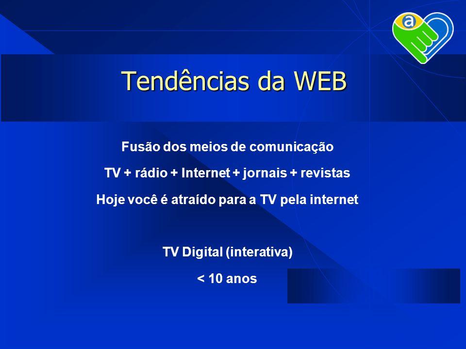 Tendências da WEB Fusão dos meios de comunicação TV + rádio + Internet + jornais + revistas Hoje você é atraído para a TV pela internet TV Digital (in