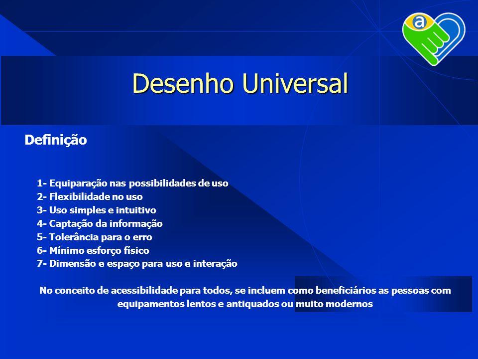 Desenho Universal Definição 1- Equiparação nas possibilidades de uso 2- Flexibilidade no uso 3- Uso simples e intuitivo 4- Captação da informação 5- T