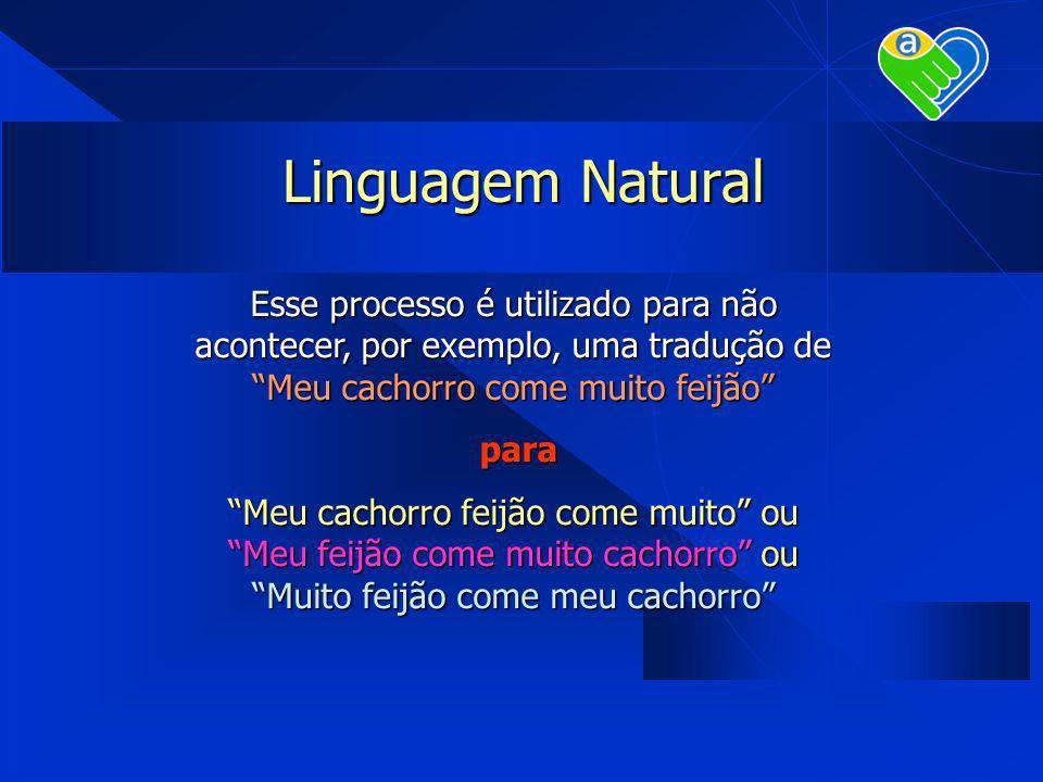 Linguagem Natural Esse processo é utilizado para não acontecer, por exemplo, uma tradução de Meu cachorro come muito feijão para para Meu cachorro fei