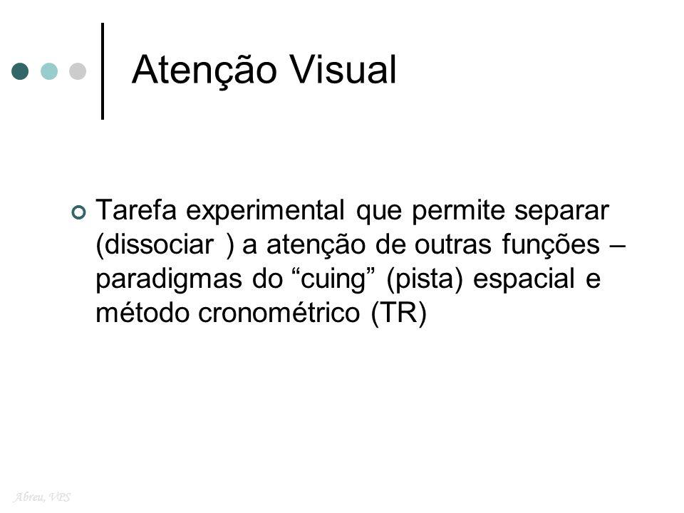 Leões Parietais Déficit principal: na operação desligar Mudar o foco da atenção de modo a detectar o alvo depois da atenção ter sido direcionada Abreu, VPS