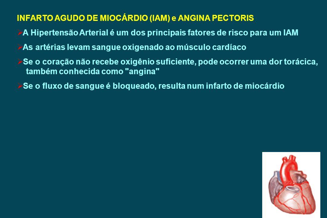 INFARTO AGUDO DE MIOCÁRDIO (IAM) e ANGINA PECTORIS A Hipertensão Arterial é um dos principais fatores de risco para um IAM As artérias levam sangue ox