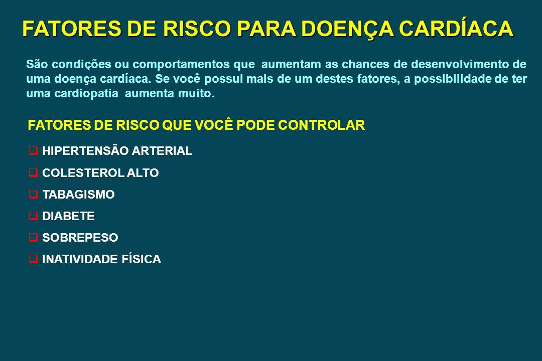 FATORES DE RISCO PARA DOENÇA CARDÍACA FATORES DE RISCO QUE VOCÊ PODE CONTROLAR HIPERTENSÃO ARTERIAL COLESTEROL ALTO TABAGISMO DIABETE SOBREPESO INATIV