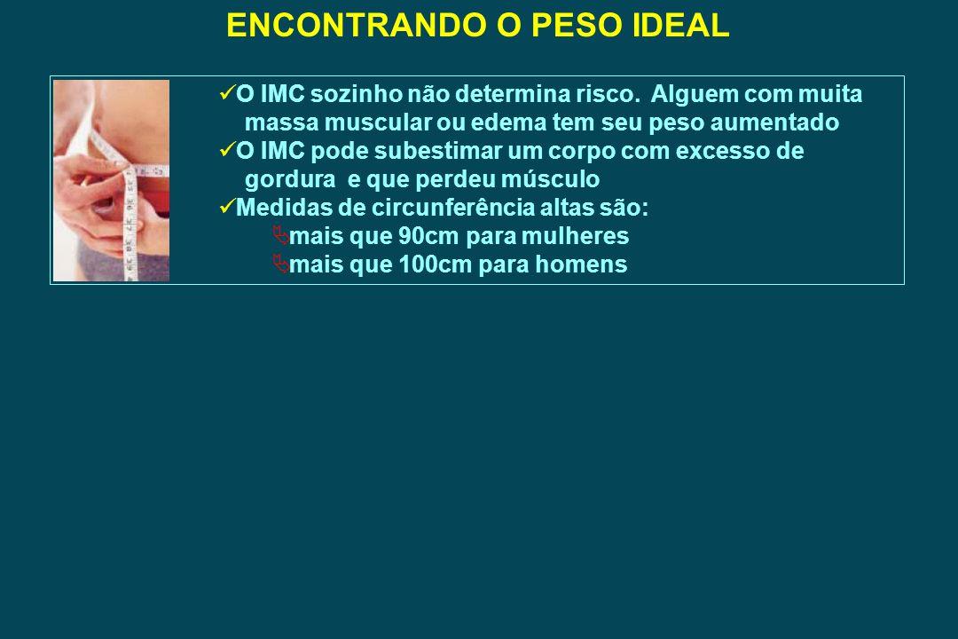 ENCONTRANDO O PESO IDEAL O IMC sozinho não determina risco. Alguem com muita massa muscular ou edema tem seu peso aumentado O IMC pode subestimar um c