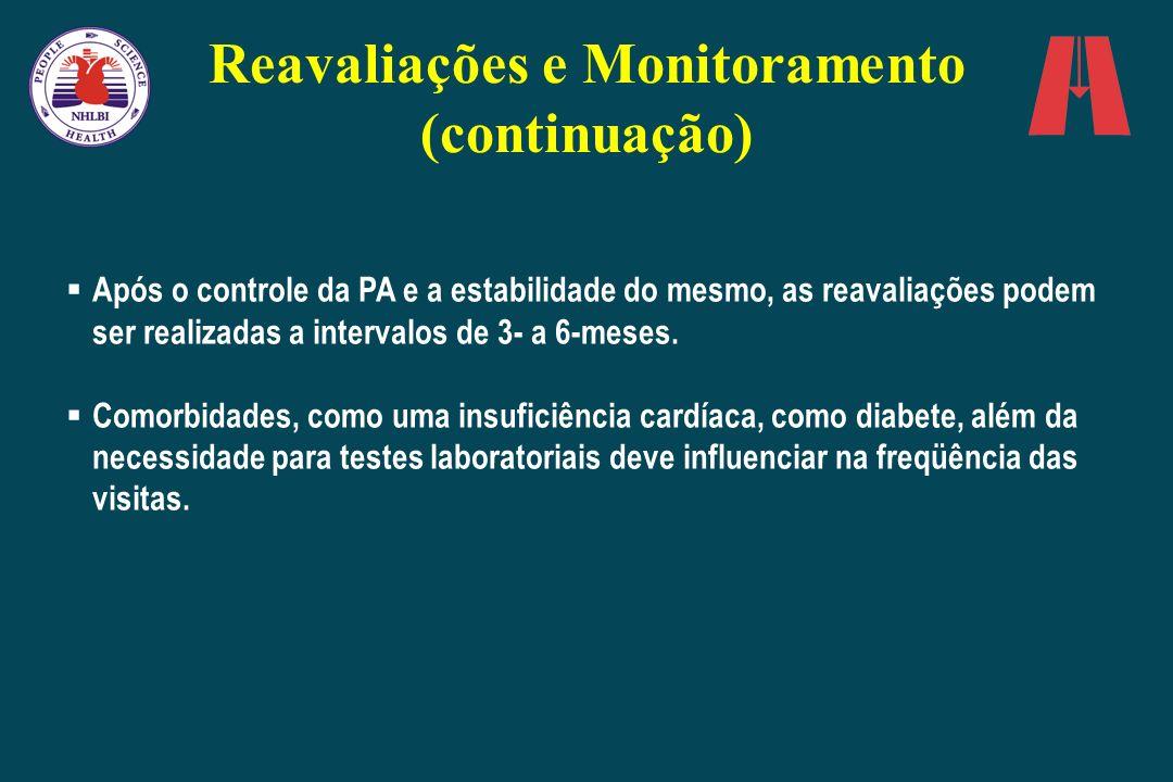 Após o controle da PA e a estabilidade do mesmo, as reavaliações podem ser realizadas a intervalos de 3- a 6-meses. Comorbidades, como uma insuficiênc