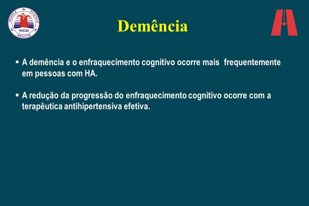 Demência A demência e o enfraquecimento cognitivo ocorre mais frequentemente em pessoas com HA. A redução da progressão do enfraquecimento cognitivo o