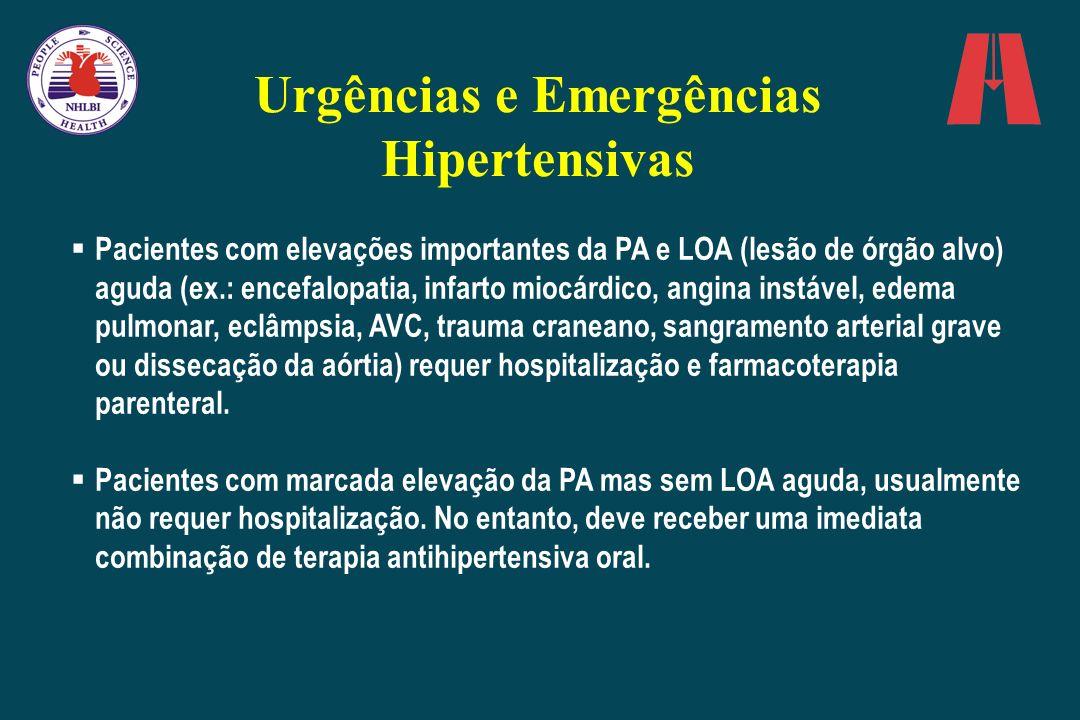 Urgências e Emergências Hipertensivas Pacientes com elevações importantes da PA e LOA (lesão de órgão alvo) aguda (ex.: encefalopatia, infarto miocárd