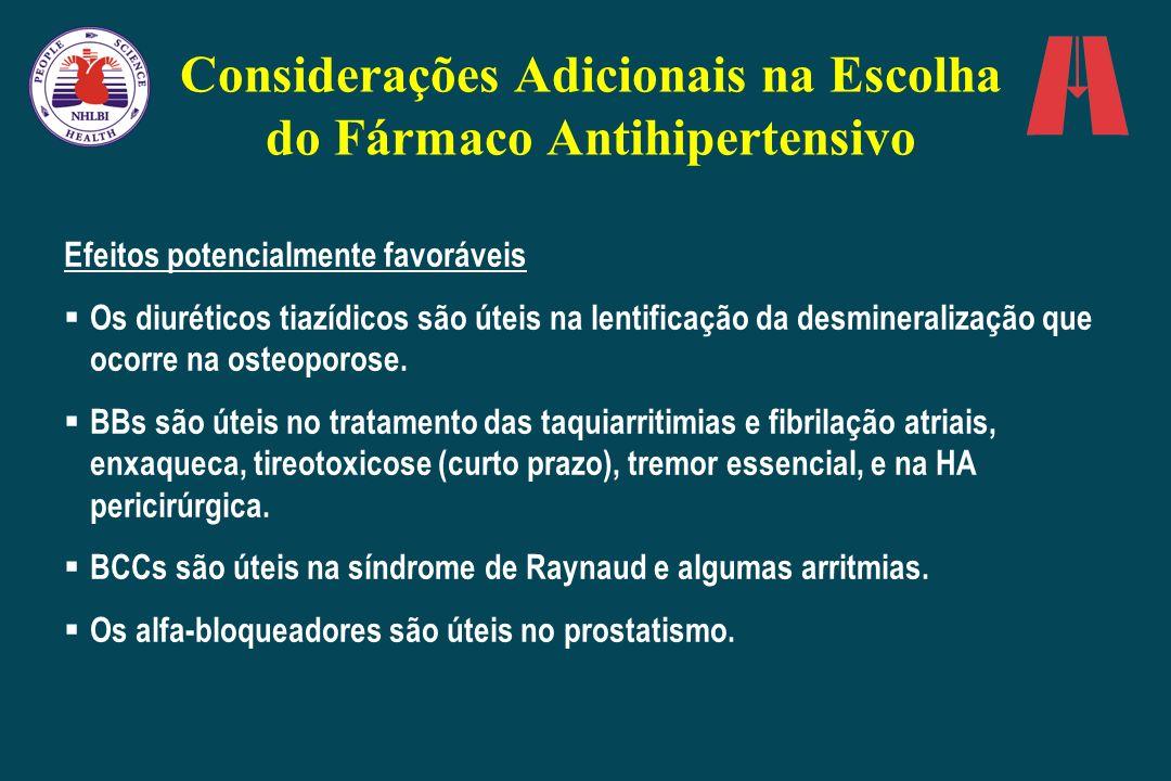 Considerações Adicionais na Escolha do Fármaco Antihipertensivo Efeitos potencialmente favoráveis Os diuréticos tiazídicos são úteis na lentificação d