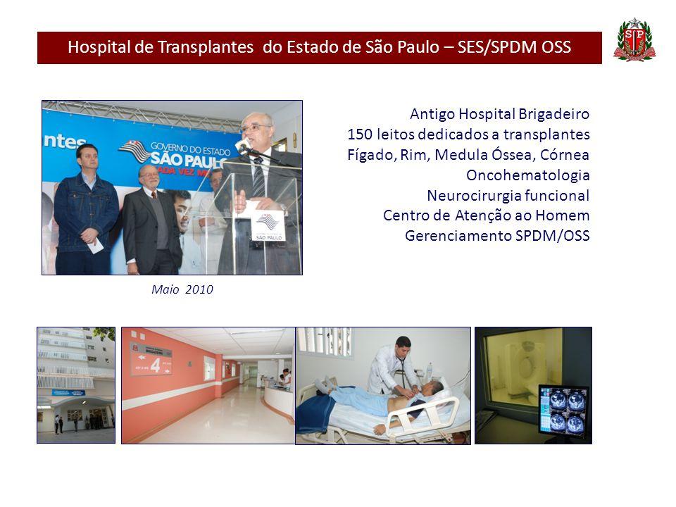 Hospital de Transplantes do Estado de São Paulo – SES/SPDM OSS Antigo Hospital Brigadeiro 150 leitos dedicados a transplantes Fígado, Rim, Medula Ósse