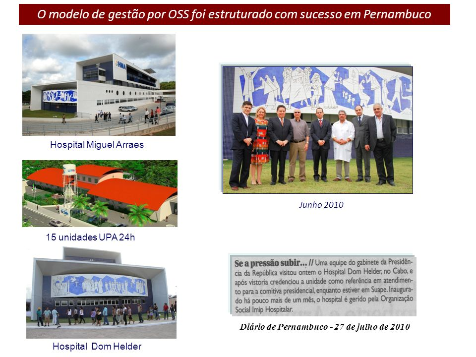O modelo de gestão por OSS foi estruturado com sucesso em Pernambuco Hospital Miguel Arraes Hospital Dom Helder 15 unidades UPA 24h Junho 2010 Diário
