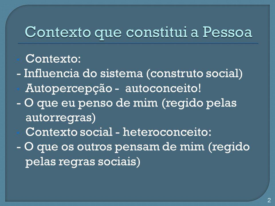 Contexto: - Influencia do sistema (construto social) Autopercepção - autoconceito! - O que eu penso de mim (regido pelas autorregras) Contexto social