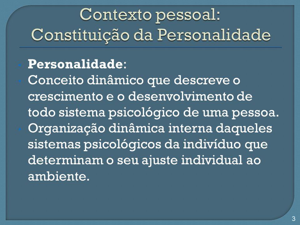 Personalidade: Conceito dinâmico que descreve o crescimento e o desenvolvimento de todo sistema psicológico de uma pessoa. Organização dinâmica intern