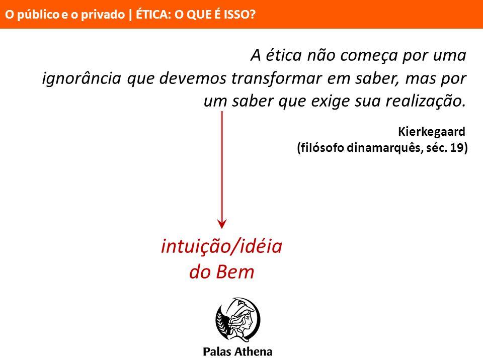 intuição/idéia do Bem A ética não começa por uma ignorância que devemos transformar em saber, mas por um saber que exige sua realização. Kierkegaard (