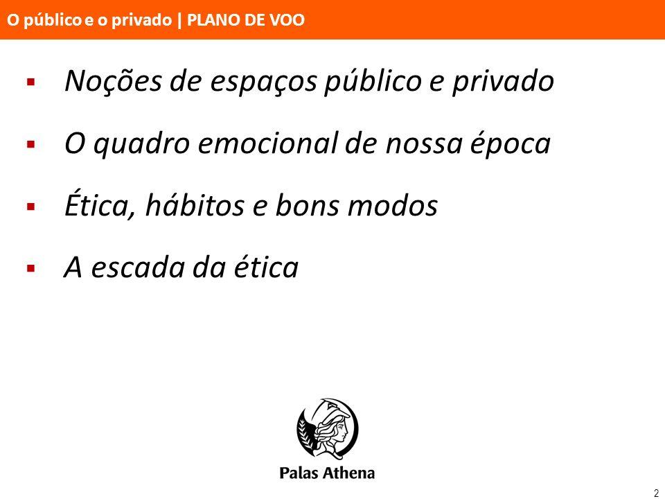 2 O público e o privado   PLANO DE VOO Noções de espaços público e privado O quadro emocional de nossa época Ética, hábitos e bons modos A escada da é