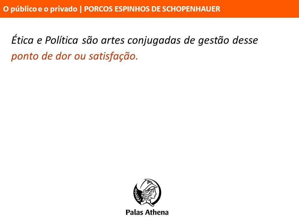 Ética e Política são artes conjugadas de gestão desse ponto de dor ou satisfação. O público e o privado   PORCOS ESPINHOS DE SCHOPENHAUER