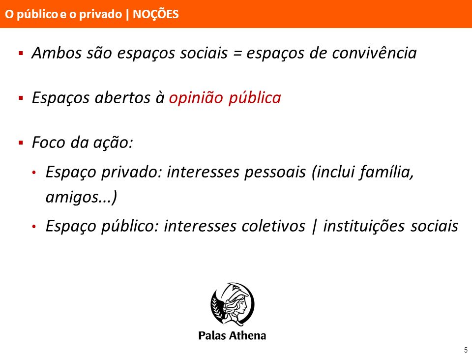 5 O público e o privado   NOÇÕES Ambos são espaços sociais = espaços de convivência Espaços abertos à opinião pública Foco da ação: Espaço privado: in