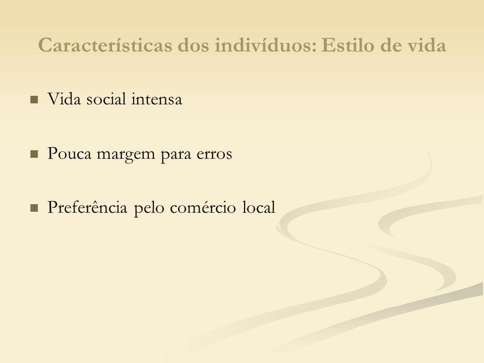 Características dos indivíduos: Valores Família e religião Valores morais Confiança e fidelidade em quem conhece e desconfiança em relação ao desconhecido Enfoque de consumo na relação custo-benefício Orgulho e exigência em ser incluído e reconhecido