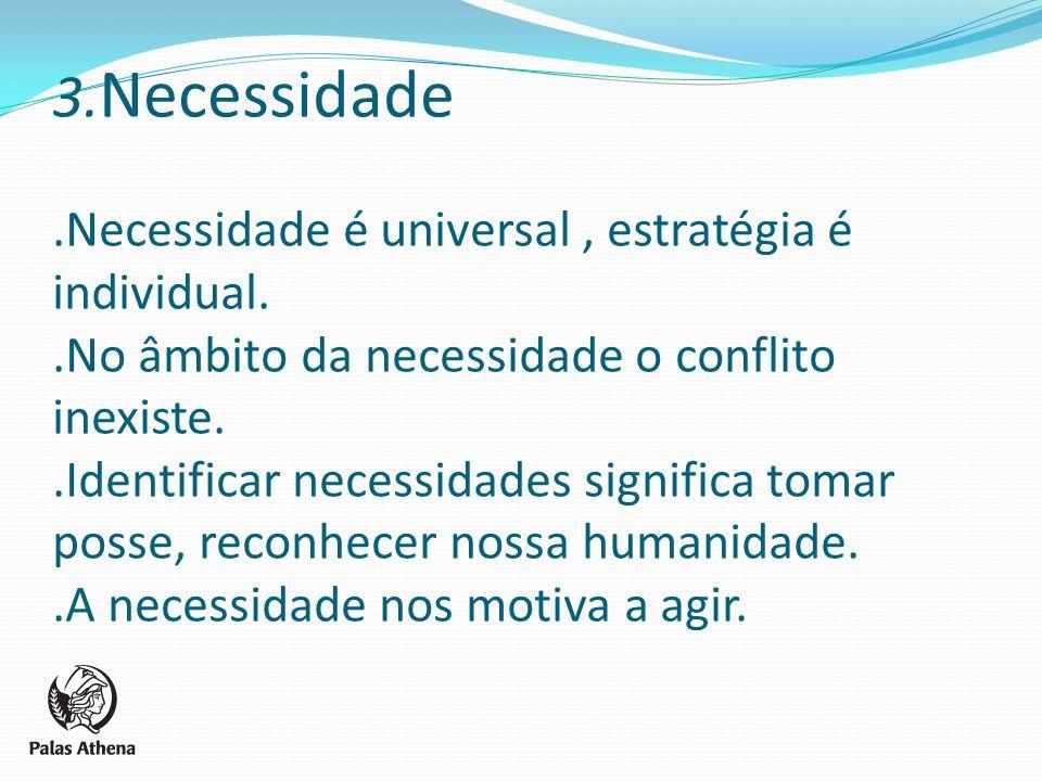 3. Necessidade.Necessidade é universal, estratégia é individual..No âmbito da necessidade o conflito inexiste..Identificar necessidades significa toma