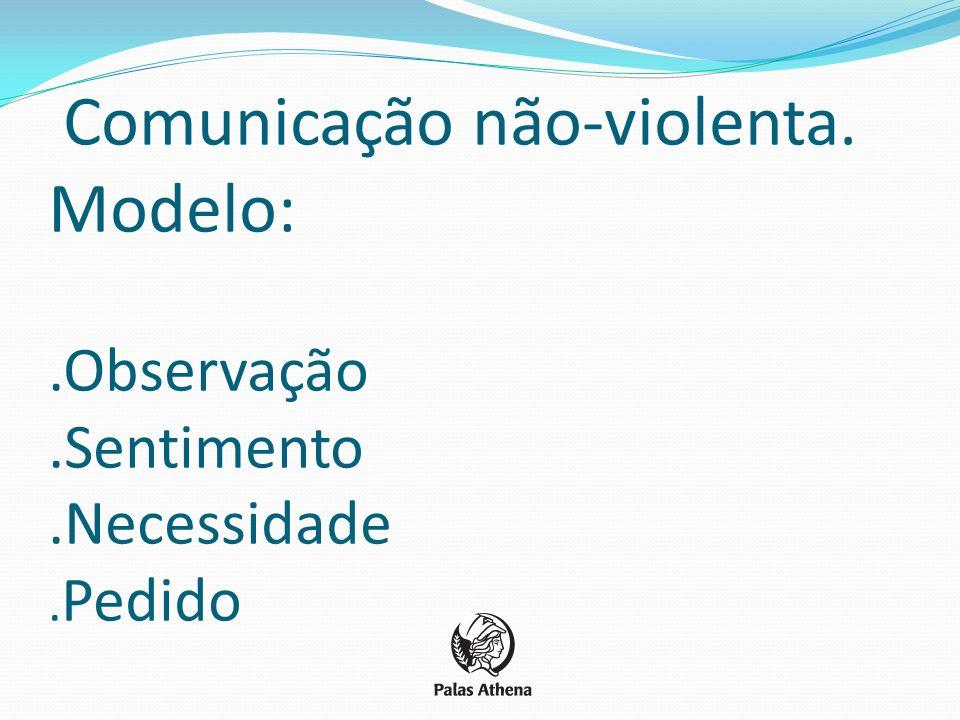 Comunicação não-violenta. Modelo:.Observação.Sentimento.Necessidade. Pedido