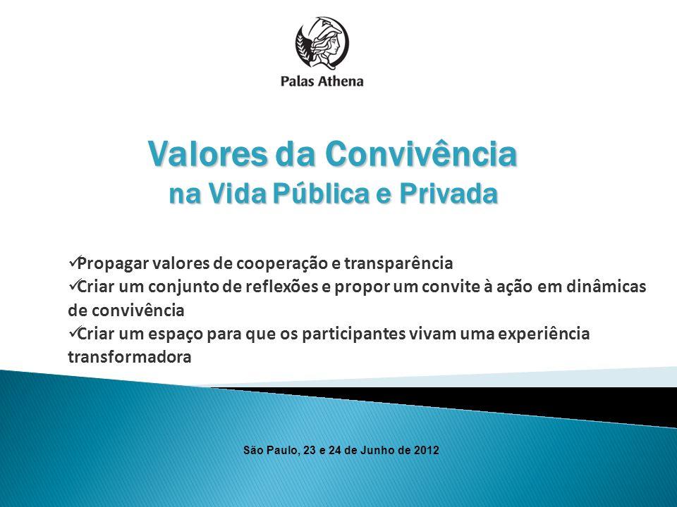 Valores da Convivência na Vida Pública e Privada Propagar valores de cooperação e transparência Criar um conjunto de reflexões e propor um convite à a
