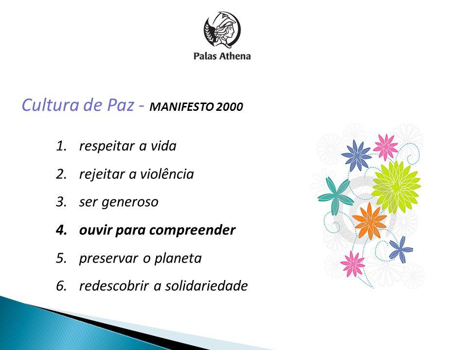 Cultura de Paz - MANIFESTO 2000 1.respeitar a vida 2.rejeitar a violência 3.ser generoso 4.ouvir para compreender 5.preservar o planeta 6.redescobrir