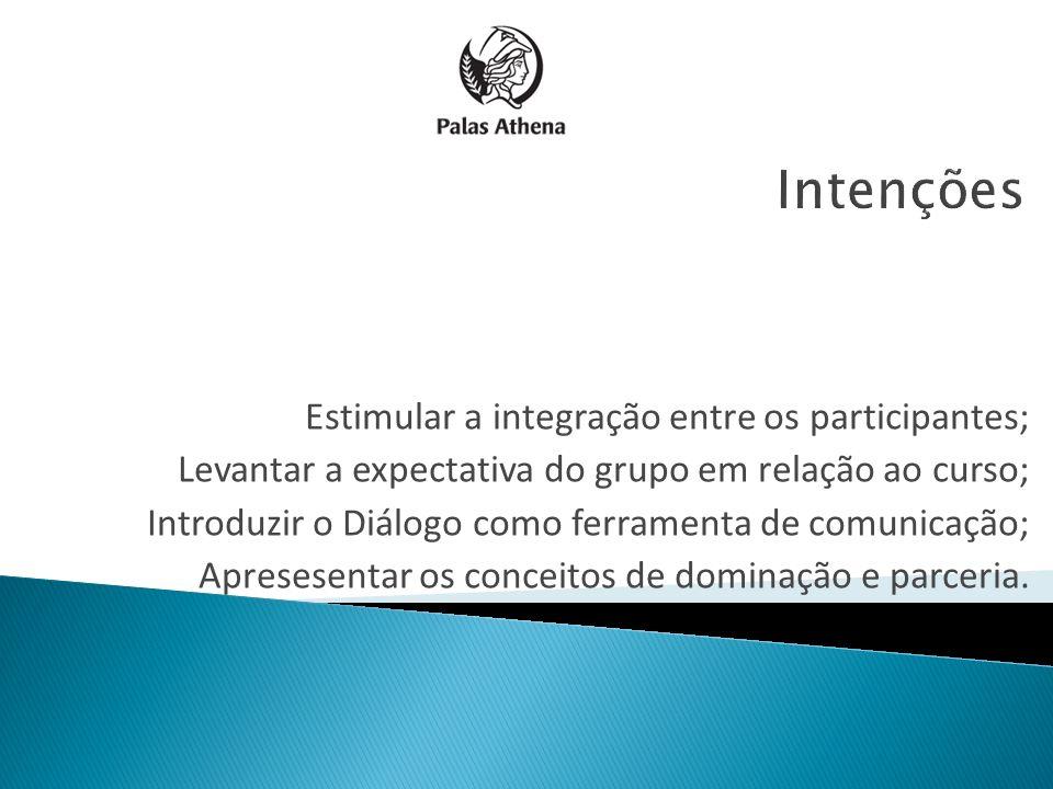 Estimular a integração entre os participantes; Levantar a expectativa do grupo em relação ao curso; Introduzir o Diálogo como ferramenta de comunicaçã
