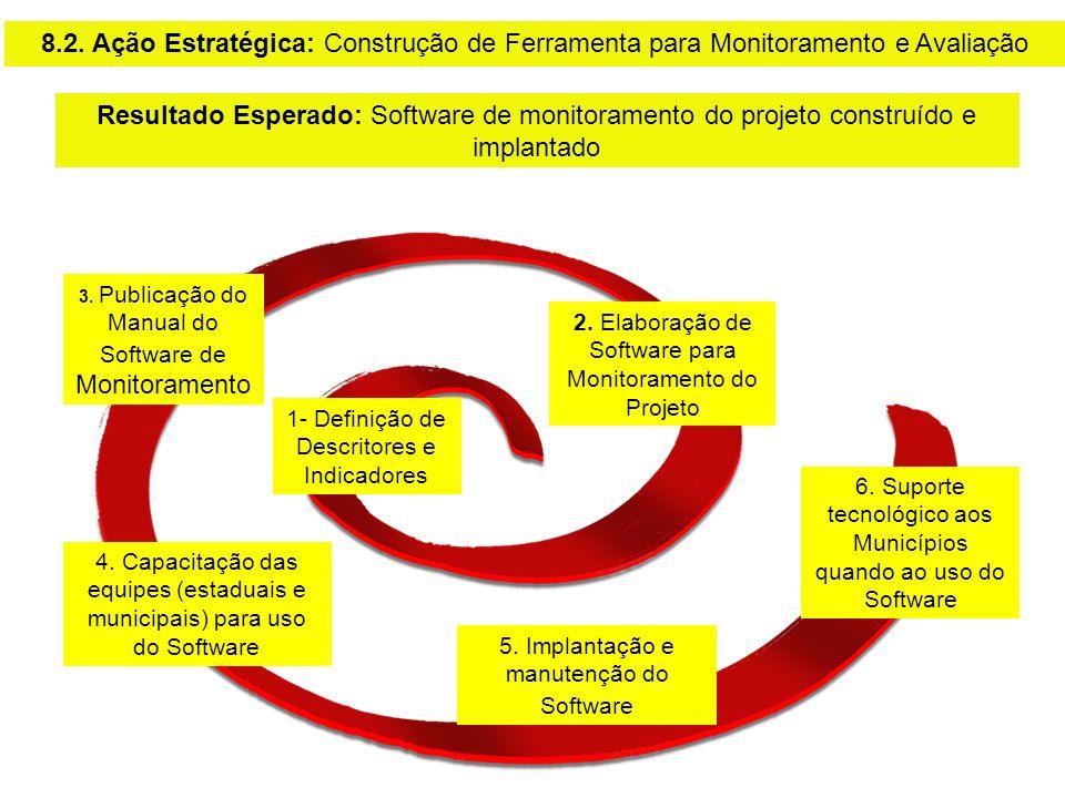 3. Publicação do Manual do Software de Monitoramento 1- Definição de Descritores e Indicadores 2. Elaboração de Software para Monitoramento do Projeto