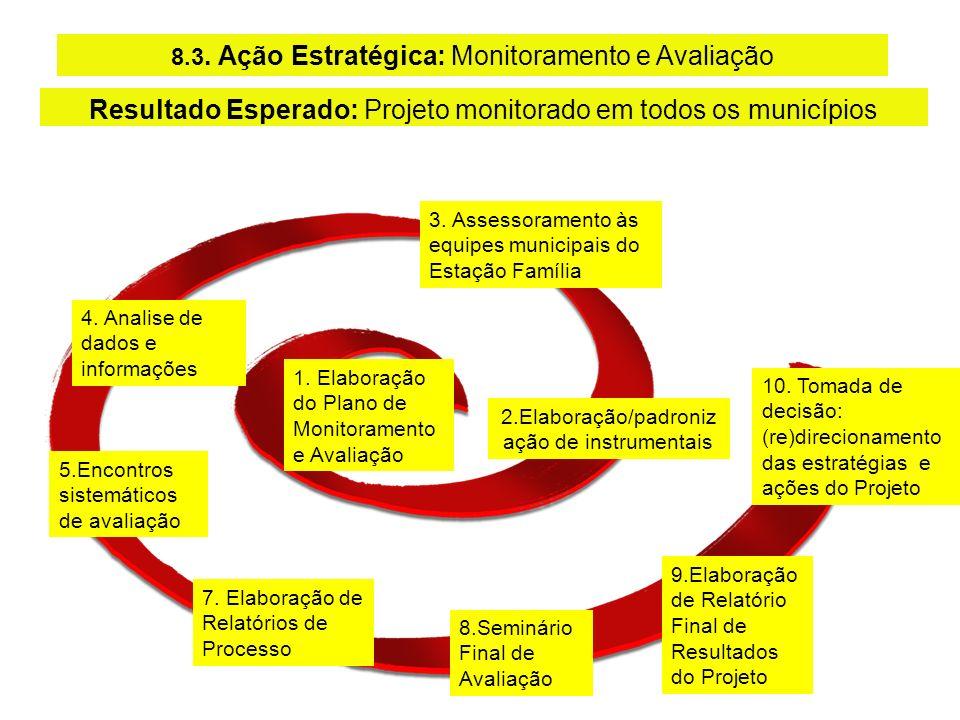1. Elaboração do Plano de Monitoramento e Avaliação 8.3. Ação Estratégica: Monitoramento e Avaliação 3. Assessoramento às equipes municipais do Estaçã