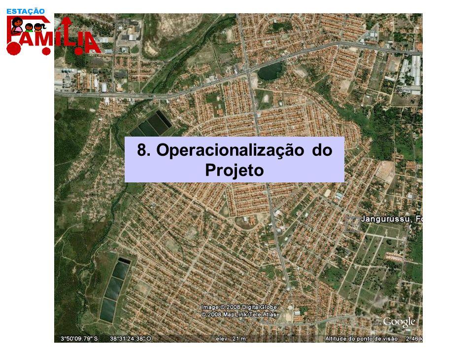 1-Mobilização dosParceiros 2-Marco Lógico do Projeto 3-Pactuação com Municípios 4-Estruturação das Equipes 5-Plano de Comunicação Ação Estratégica: Gestão do Projeto 8.1 Ação Estratégica:Desenho e Gestão do Projeto Resultado Esperado:Projeto estruturado e implantado 6-Implantação do Projeto nos Municípios