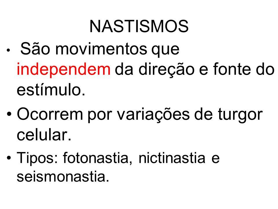 NASTISMOS São movimentos que independem da direção e fonte do estímulo. Ocorrem por variações de turgor celular. Tipos: fotonastia, nictinastia e seis