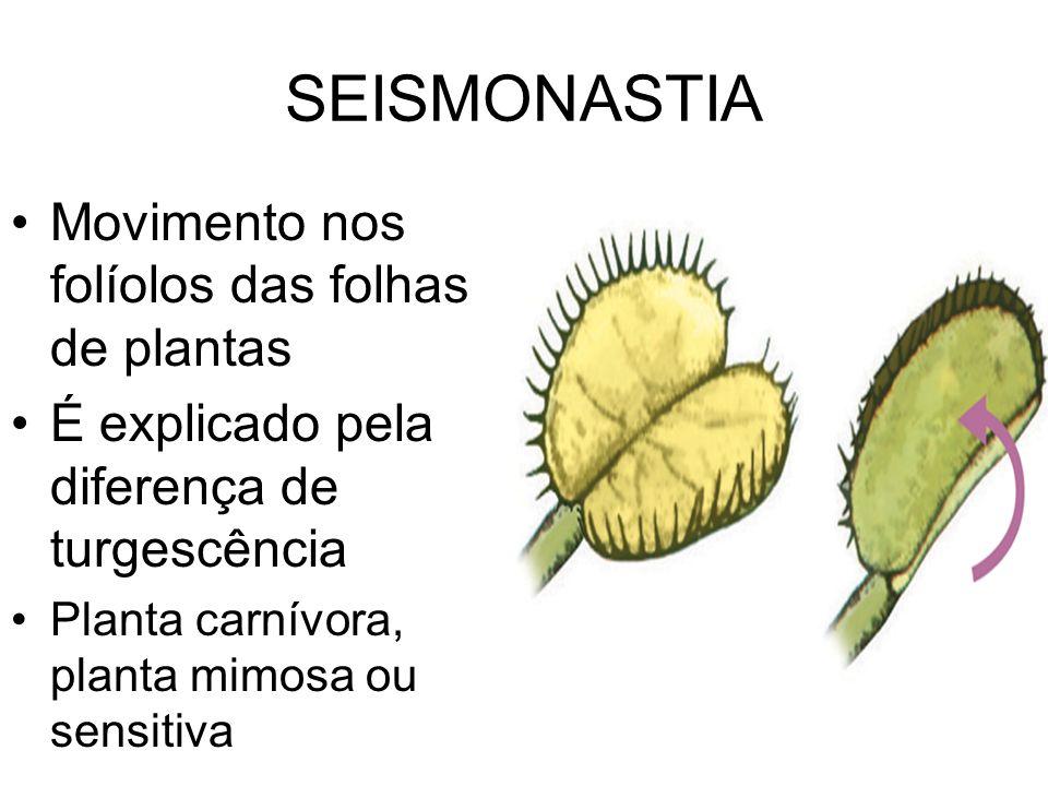 SEISMONASTIA Movimento nos folíolos das folhas de plantas É explicado pela diferença de turgescência Planta carnívora, planta mimosa ou sensitiva