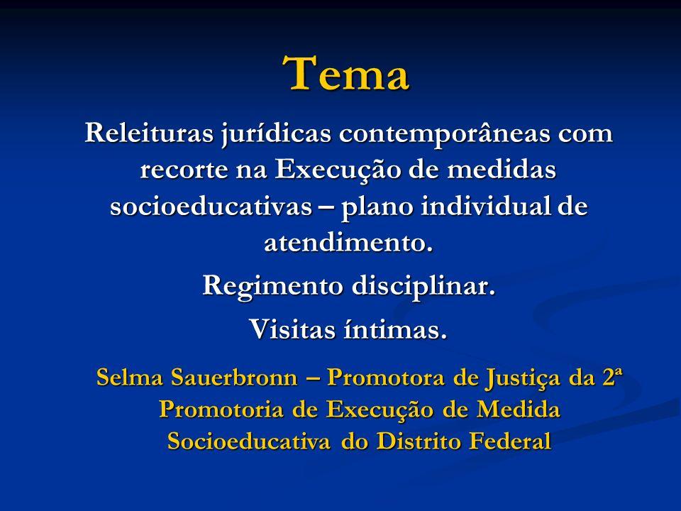 Tema Releituras jurídicas contemporâneas com recorte na Execução de medidas socioeducativas – plano individual de atendimento. Regimento disciplinar.