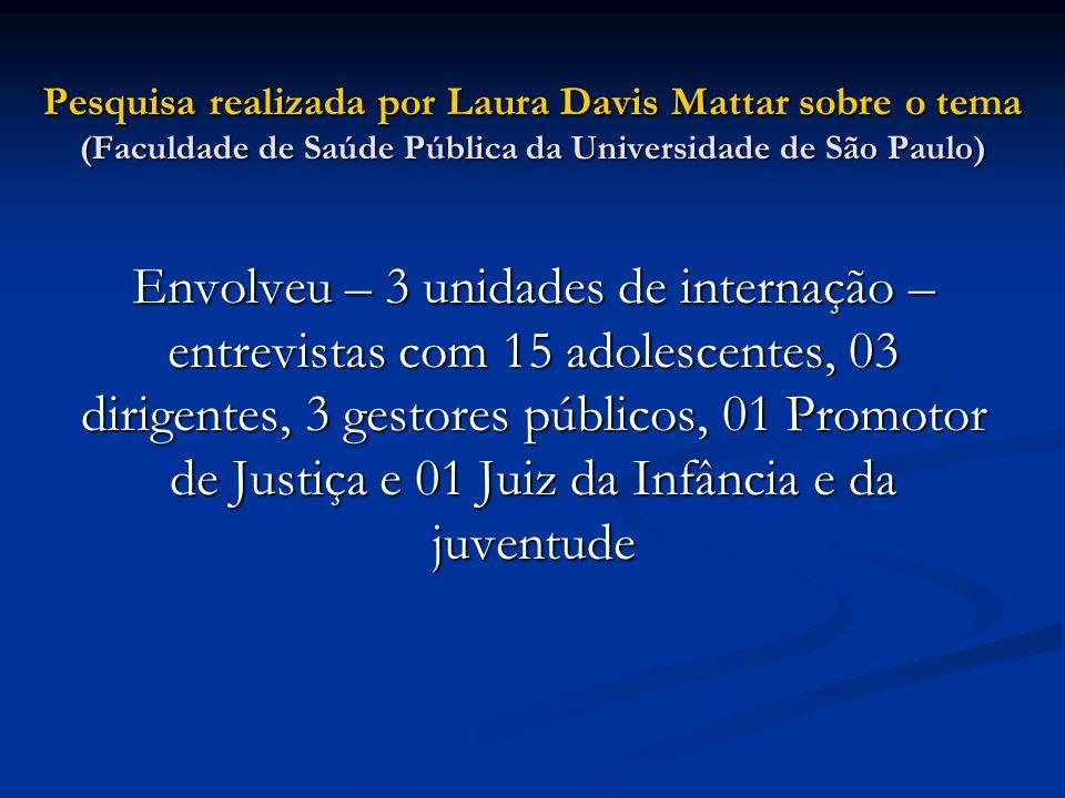 Pesquisa realizada por Laura Davis Mattar sobre o tema (Faculdade de Saúde Pública da Universidade de São Paulo) Envolveu – 3 unidades de internação –