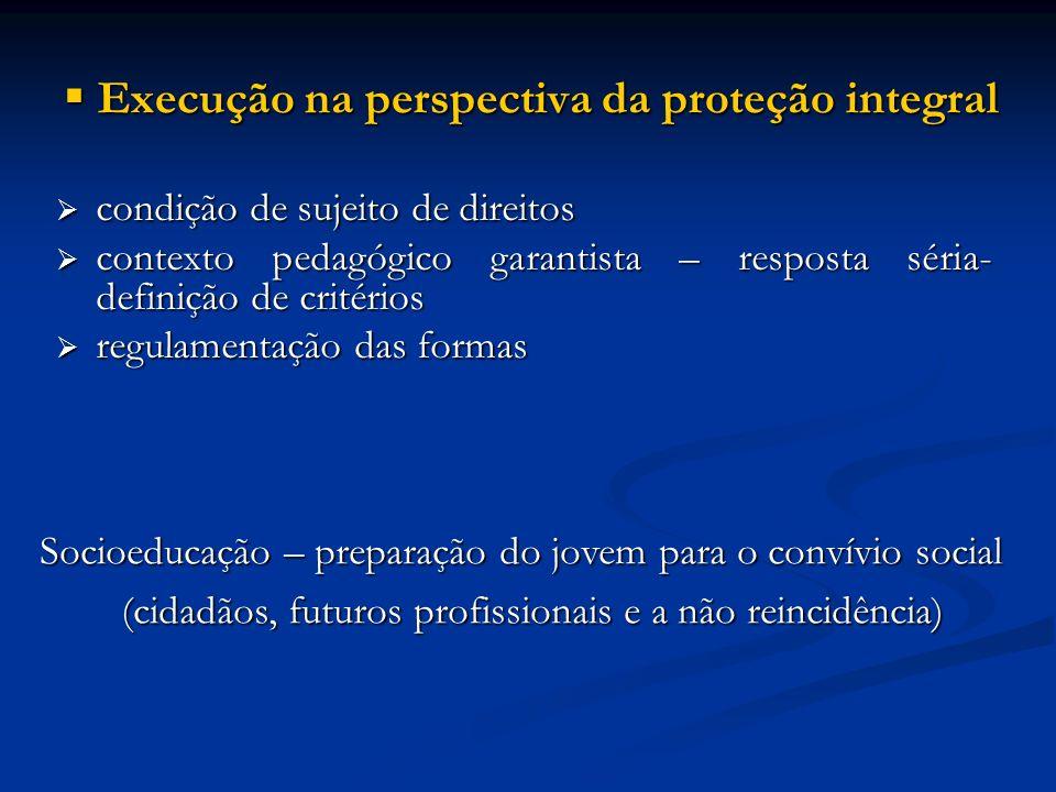 Execução na perspectiva da proteção integral Execução na perspectiva da proteção integral condição de sujeito de direitos condição de sujeito de direi