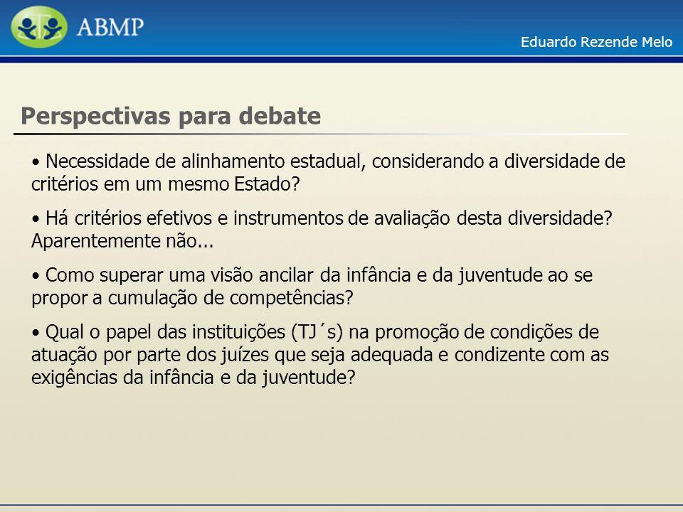Eduardo Rezende Melo Perspectivas para debate Necessidade de alinhamento estadual, considerando a diversidade de critérios em um mesmo Estado? Há crit