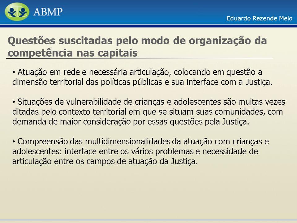 Eduardo Rezende Melo Questões suscitadas pelo modo de organização da competência nas capitais Atuação em rede e necessária articulação, colocando em q