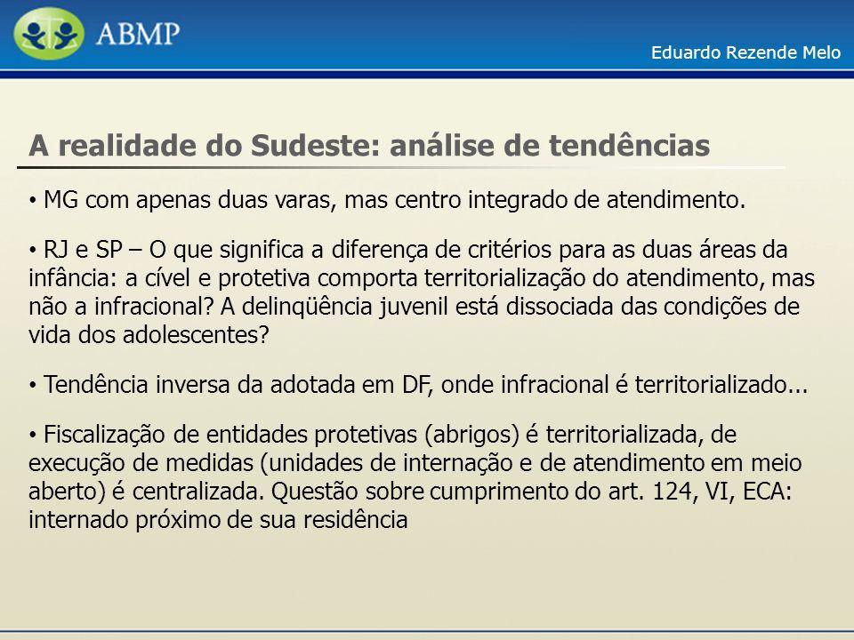 Eduardo Rezende Melo A realidade do Sudeste: análise de tendências MG com apenas duas varas, mas centro integrado de atendimento. RJ e SP – O que sign