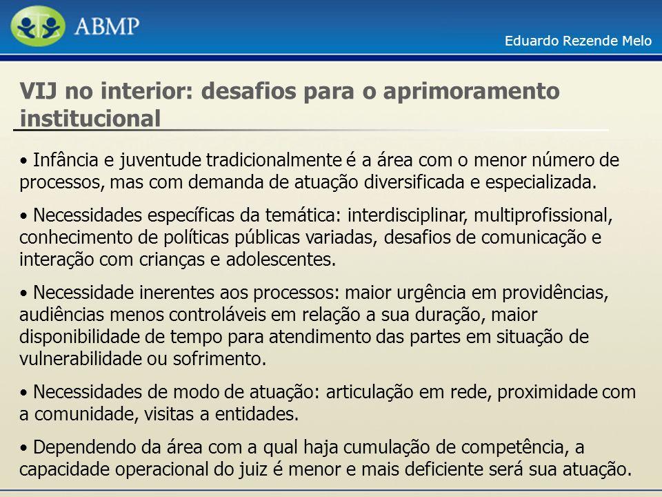 Eduardo Rezende Melo VIJ no interior: desafios para o aprimoramento institucional Infância e juventude tradicionalmente é a área com o menor número de