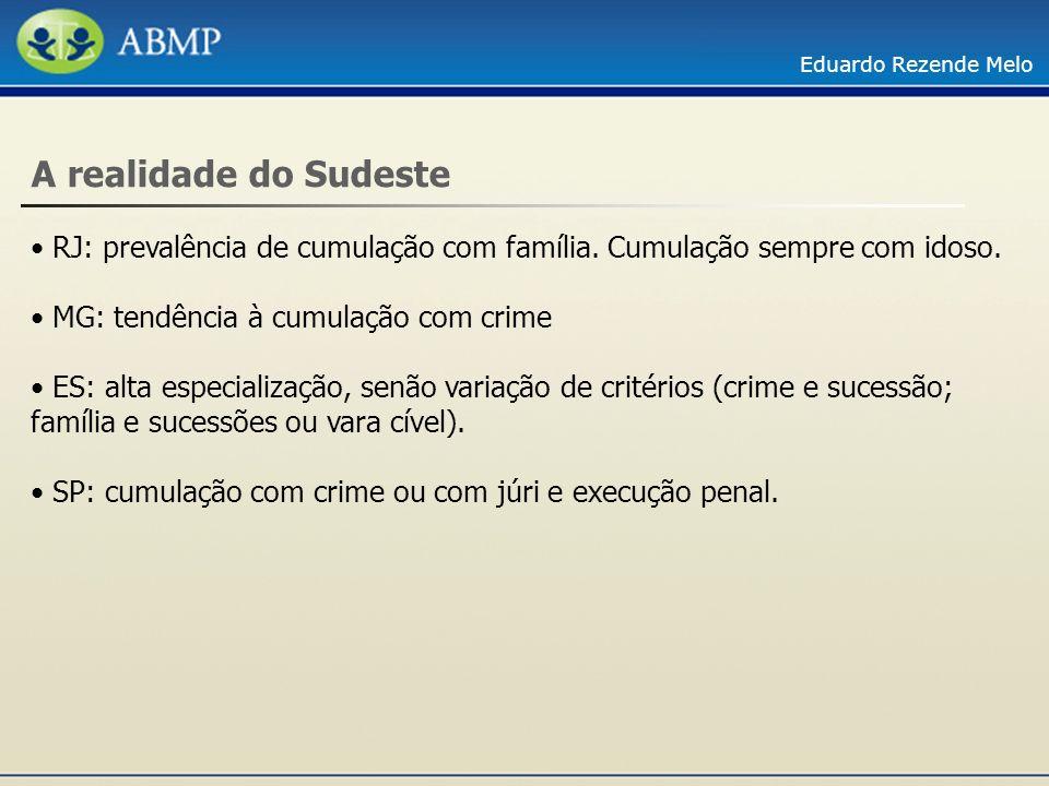 Eduardo Rezende Melo A realidade do Sudeste RJ: prevalência de cumulação com família. Cumulação sempre com idoso. MG: tendência à cumulação com crime