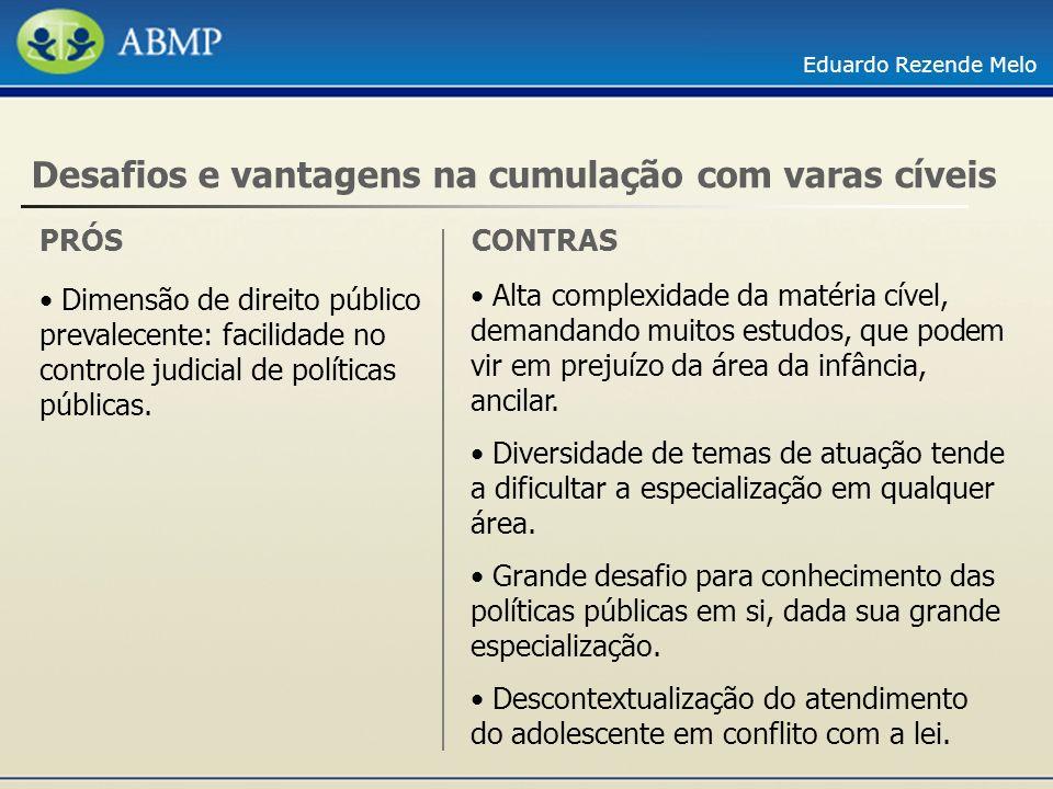 Eduardo Rezende Melo PRÓS Desafios e vantagens na cumulação com varas cíveis Dimensão de direito público prevalecente: facilidade no controle judicial