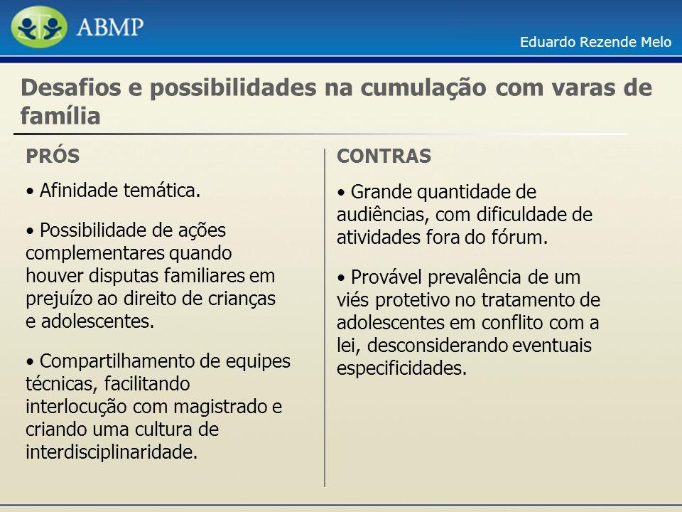 Eduardo Rezende Melo Desafios e possibilidades na cumulação com varas de família PRÓS Afinidade temática. Possibilidade de ações complementares quando